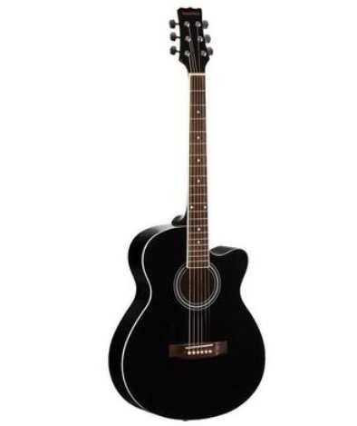 звуки. Корпус инструмента выполнен из липы, тип бриджа – тремоло. Гриф сделан из клена, а накладка из палисандра. Здесь имеется 21 лад с размером medium jumbo. Инкрустация выполнена в виде точек. Имеется 1 регулятор громкости и 2 регулятора тона. Корпус выполняется в 6 разных расцветках, оттенок фурнитуры - никель Акустическая гитара Martinez W-91C BK